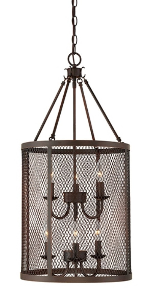 Large Foyer Drum Pendant : Akron dark brushed bronze wire mesh drum pendant light