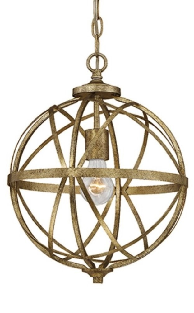 Lakewood vintage gold chandelier metal globe frame 12wx15w 2281vg lakewood vintage gold iron sphere pendant light 12wx15h aloadofball Gallery