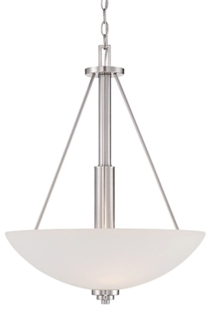 Durham Satin Nickel Pendant Light White Glass 19 Quot Wx25 Quot H