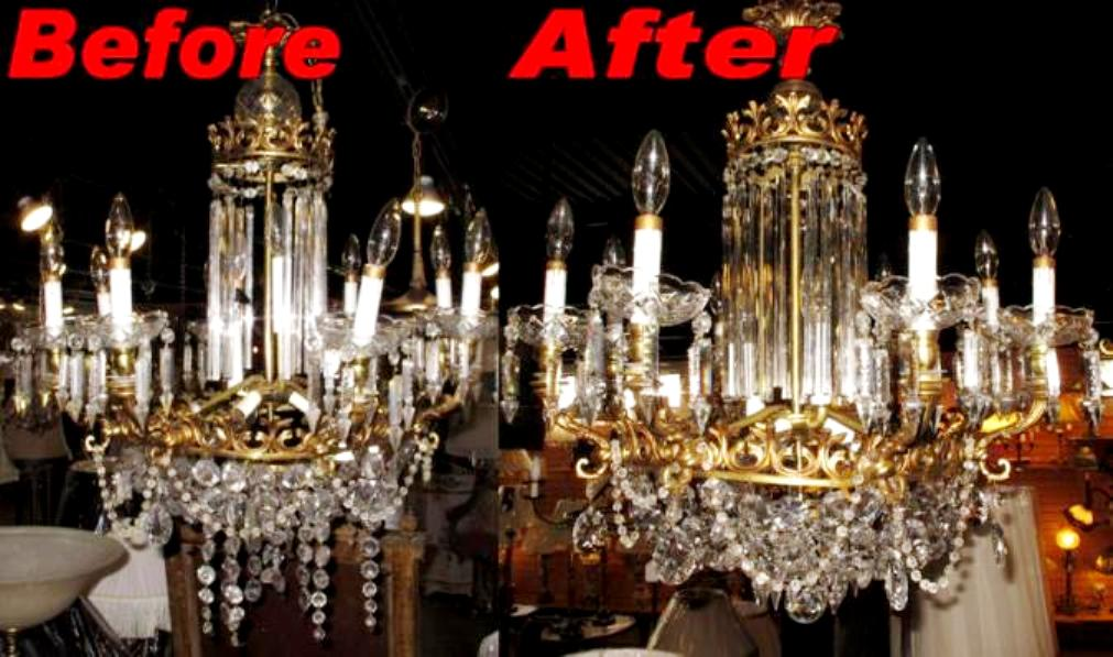 Crystal chandelier repair lamp shade pro crystal chandelier repair before after aloadofball Choice Image