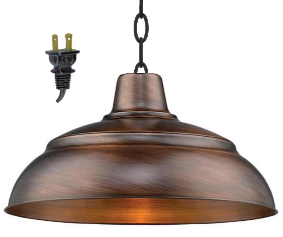 "Genuine Copper Plug In Pendant Light 14-17""W"