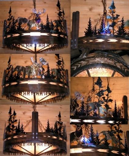 Moose elk trees cross cut saw chandelier lamp shade pro cross cut saw mica metal chandelier 30w mozeypictures Choice Image