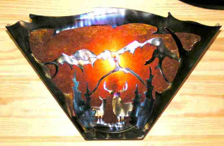 "Deer, Mountains Trees Sconce Light 16""W"