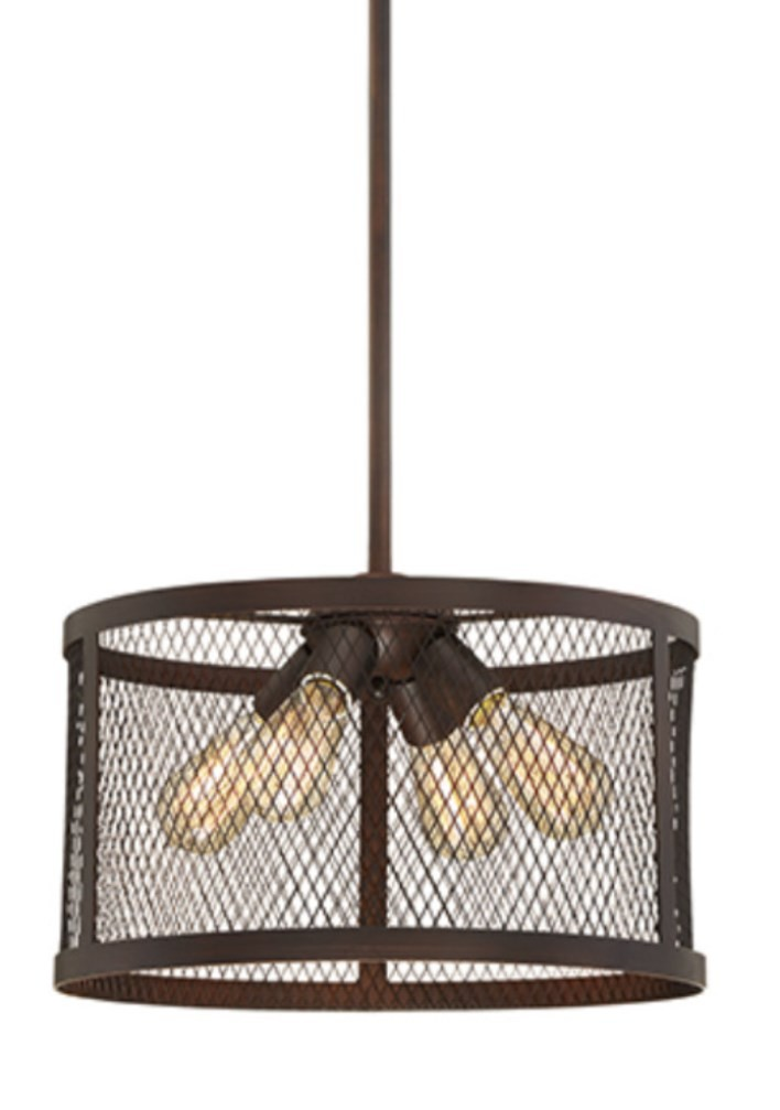 Racine Dark Bronze Pendant Light Metal Drum Shade 16\