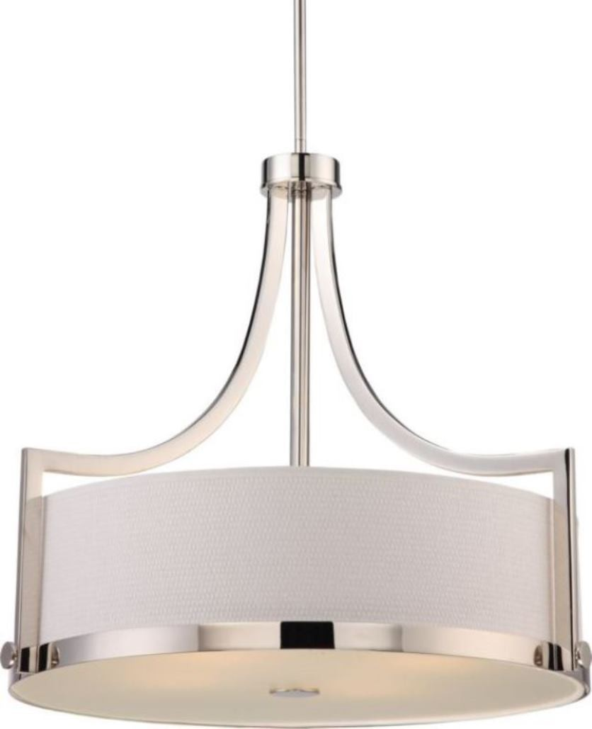 sc 1 st  L& Shade Pro & Meadow Polished Nickel Drum Pendant Light Fabric Shade 24