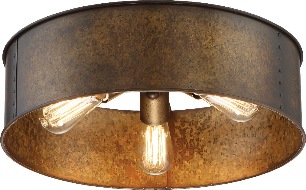 Weathered brass flush drum ceiling light 12wx8 kettle weathered brass flush drum ceiling light 12wx8h aloadofball Images