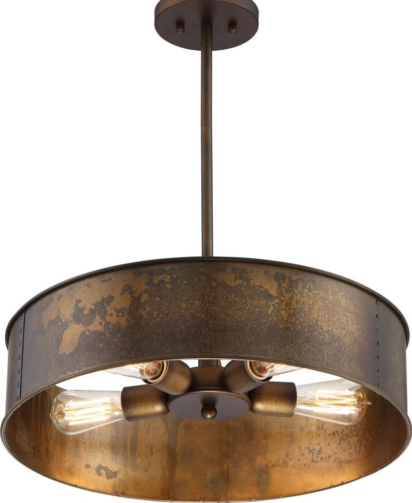 "Just Reduced Rustic Handmade 3 Bulb Hanging Light Fixture Or: Kettle Weathered Brass Drum Pendant Light 20""Wx41""H"