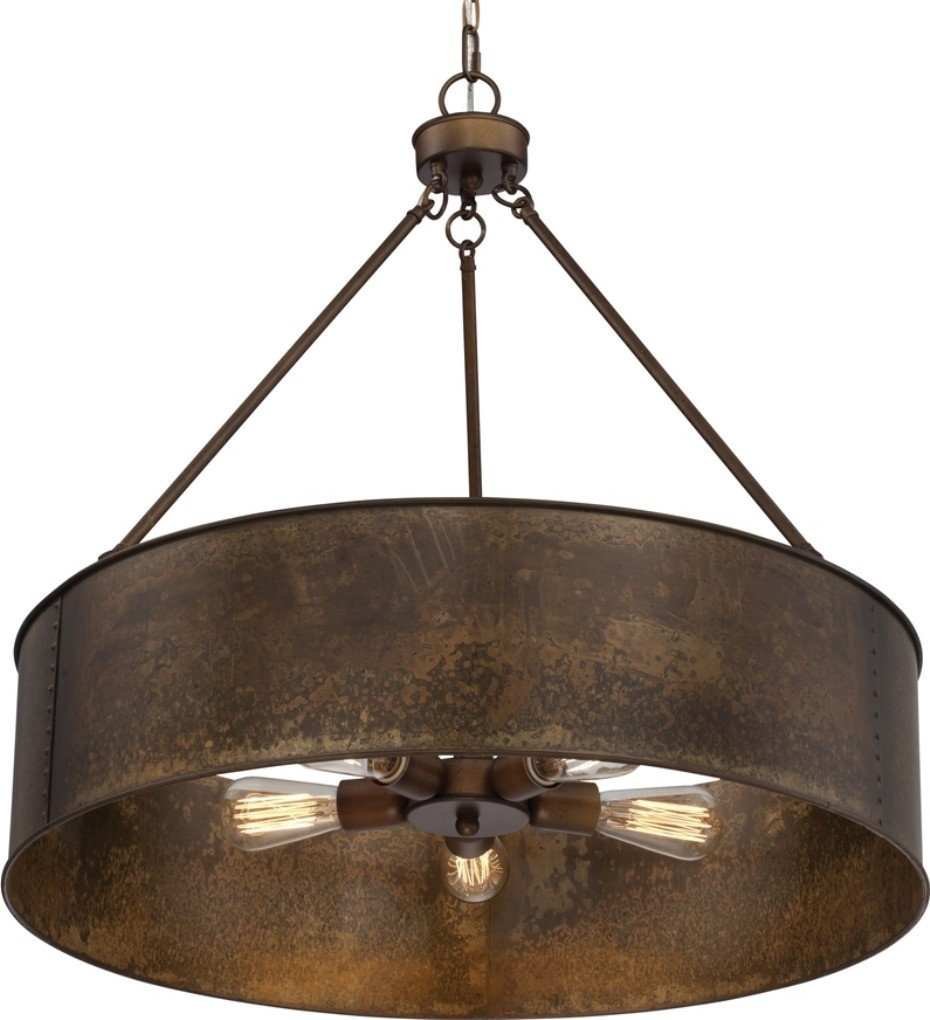 "Large Drum Ceiling Fan: Kettle Weathered Brass Drum Pendant Light 30""Wx28""H"