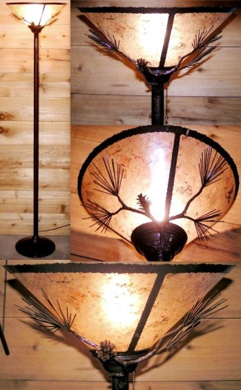 Bronze rustic torchiere lamp mica shade lamp shade pro bronze mica torchiere floor lamp 72h aloadofball Image collections