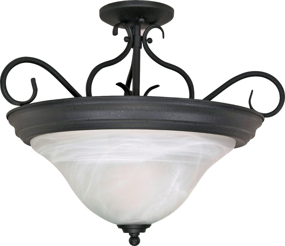 modern transitional semi flush ceiling light with alabaster swirl