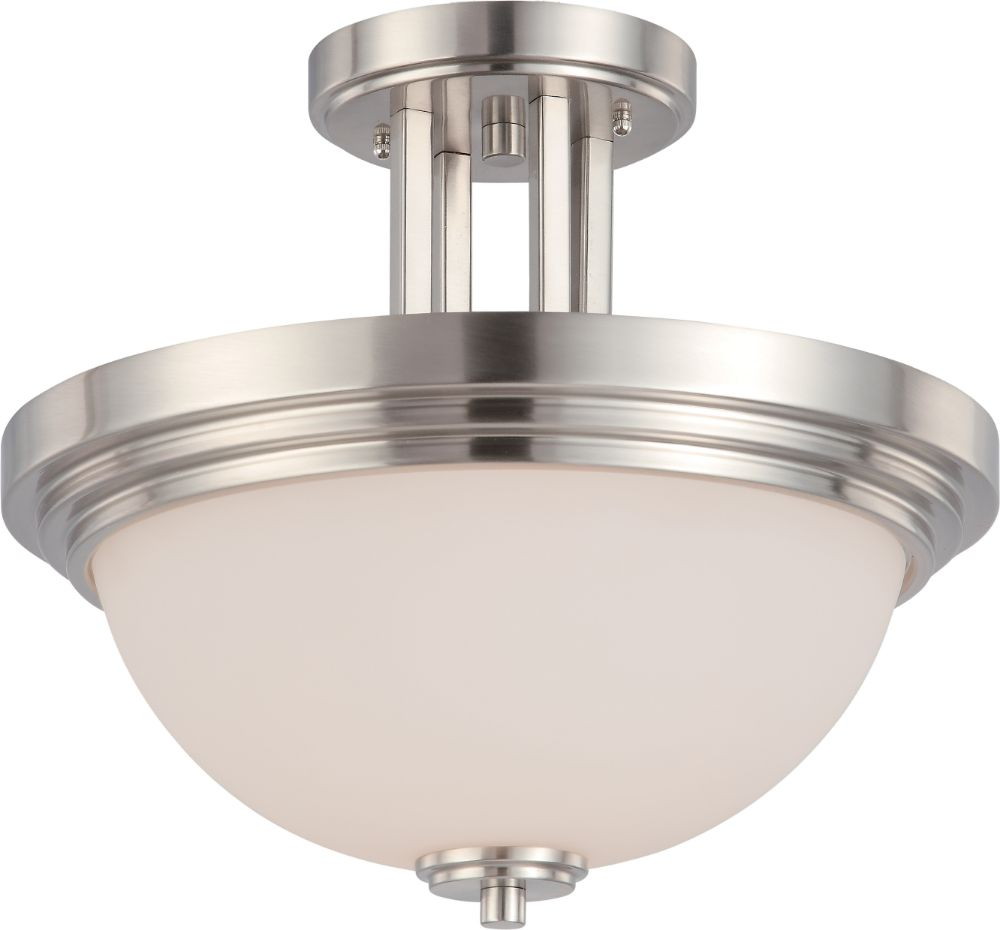 harmony brushed nickel semi flush ceiling light 14 wx12 h. Black Bedroom Furniture Sets. Home Design Ideas