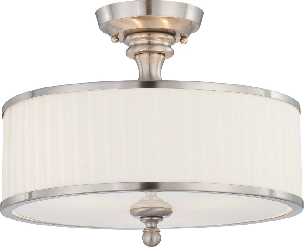 candice nickel drum shade semi flush ceiling light 15 wx12 h. Black Bedroom Furniture Sets. Home Design Ideas