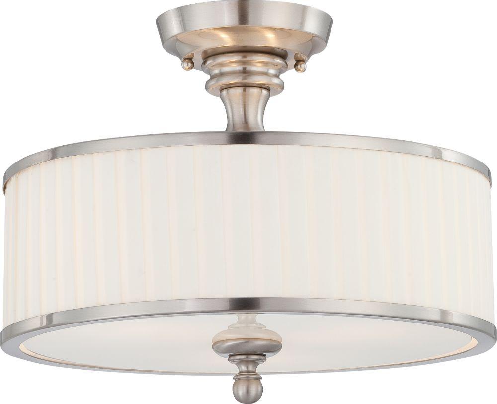 Semi Flush Ceiling Lights Glass Brass Fixture Bathroom: Candice Nickel Drum Semi Flush Ceiling Light Glass Shade