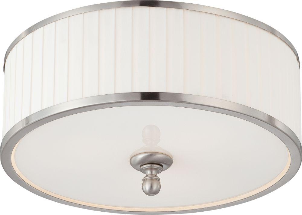 candice nickel drum shade flush ceiling light 15 wx7 h