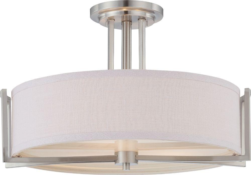 Gemini brushed nickel semi flush ceiling light 18wx12h gemini brushed nickel semi flush drum ceiling light 18wx12h aloadofball Choice Image