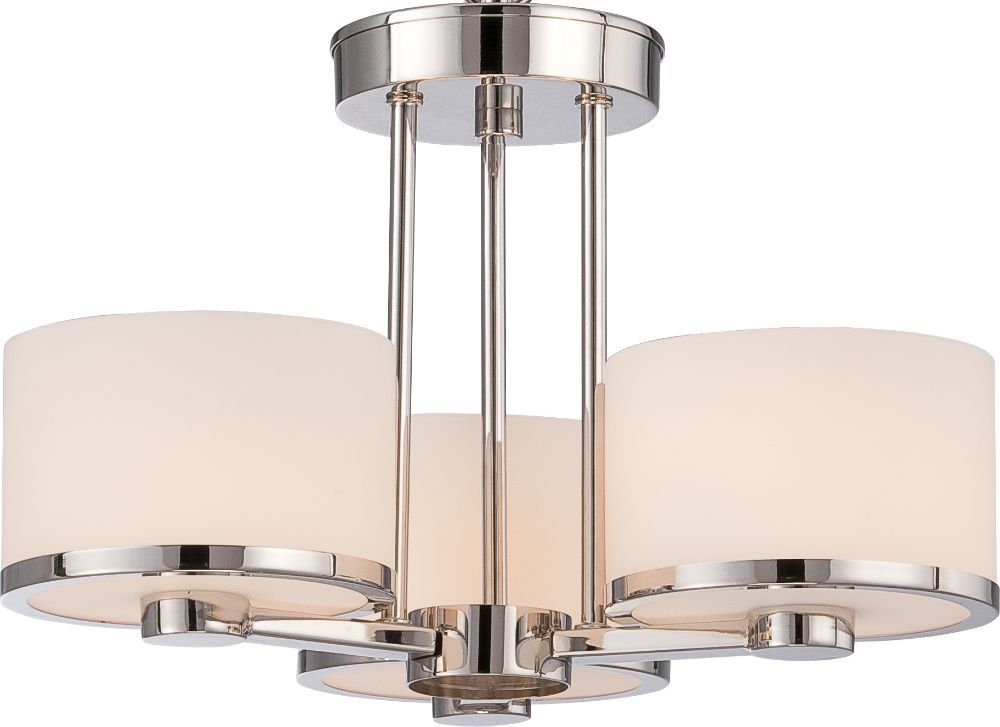 celine nickel drum shade semi flush ceiling light 15 wx11 h. Black Bedroom Furniture Sets. Home Design Ideas