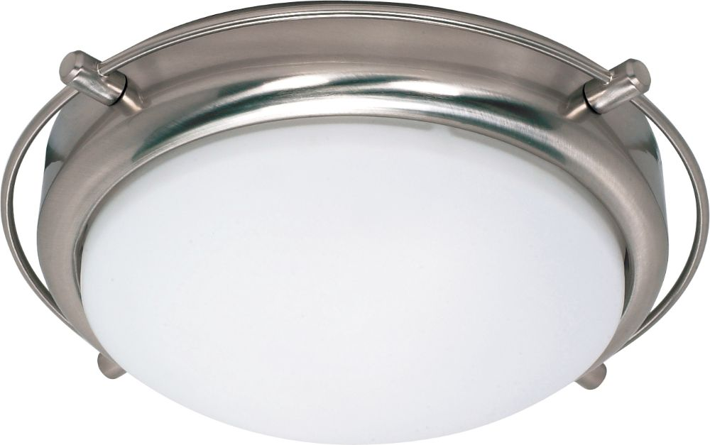"""Progress Lighting Archie Collection 26 25 In 3 Light: Polaris Brushed Nickel Flush Ceiling Light 13""""Wx4""""H"""