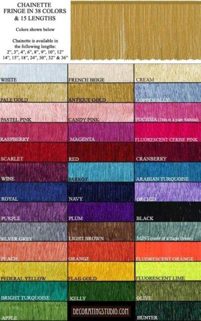 "38 Fringe Colors For Black Lamp Shades 2-36"""