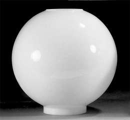 "8"" White Ball Glass Lamp Shade 4"" Fitter"