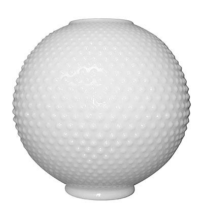 "8"" White Hobnail Ball Glass Lamp Shade 4"" Fitter"