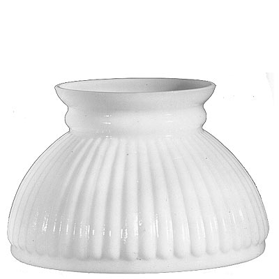 "White Ribbed Hurricane Glass Lamp Shade 6"" Fitter"