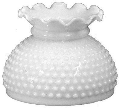 """Pie Crust Top White Hobnail Glass Shade 6"""" Fitter"""