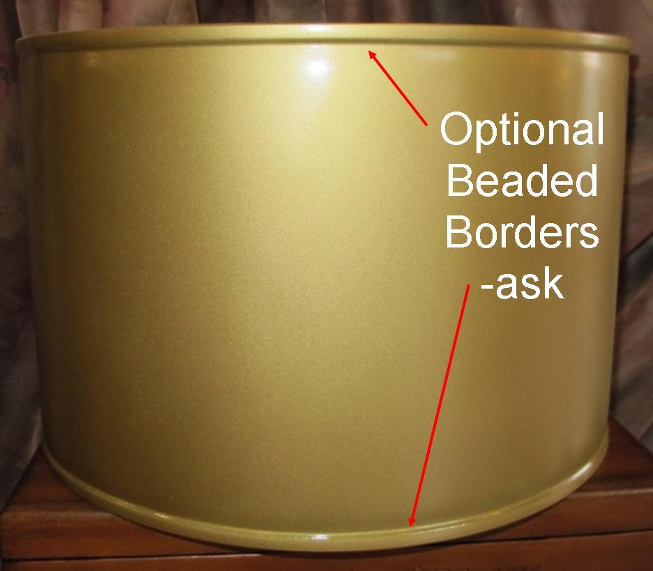 Gold Drum Metal Lamp Shade Beaded Borders