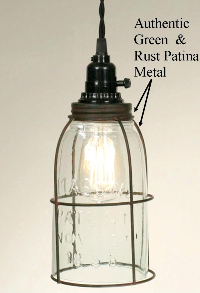 Mason Jar Swag Lamp Half Gallon Wire Cage ...