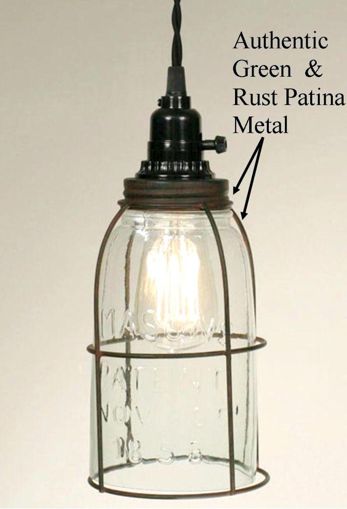 Primitive Half Gallon Mason Jar Swag Lamp