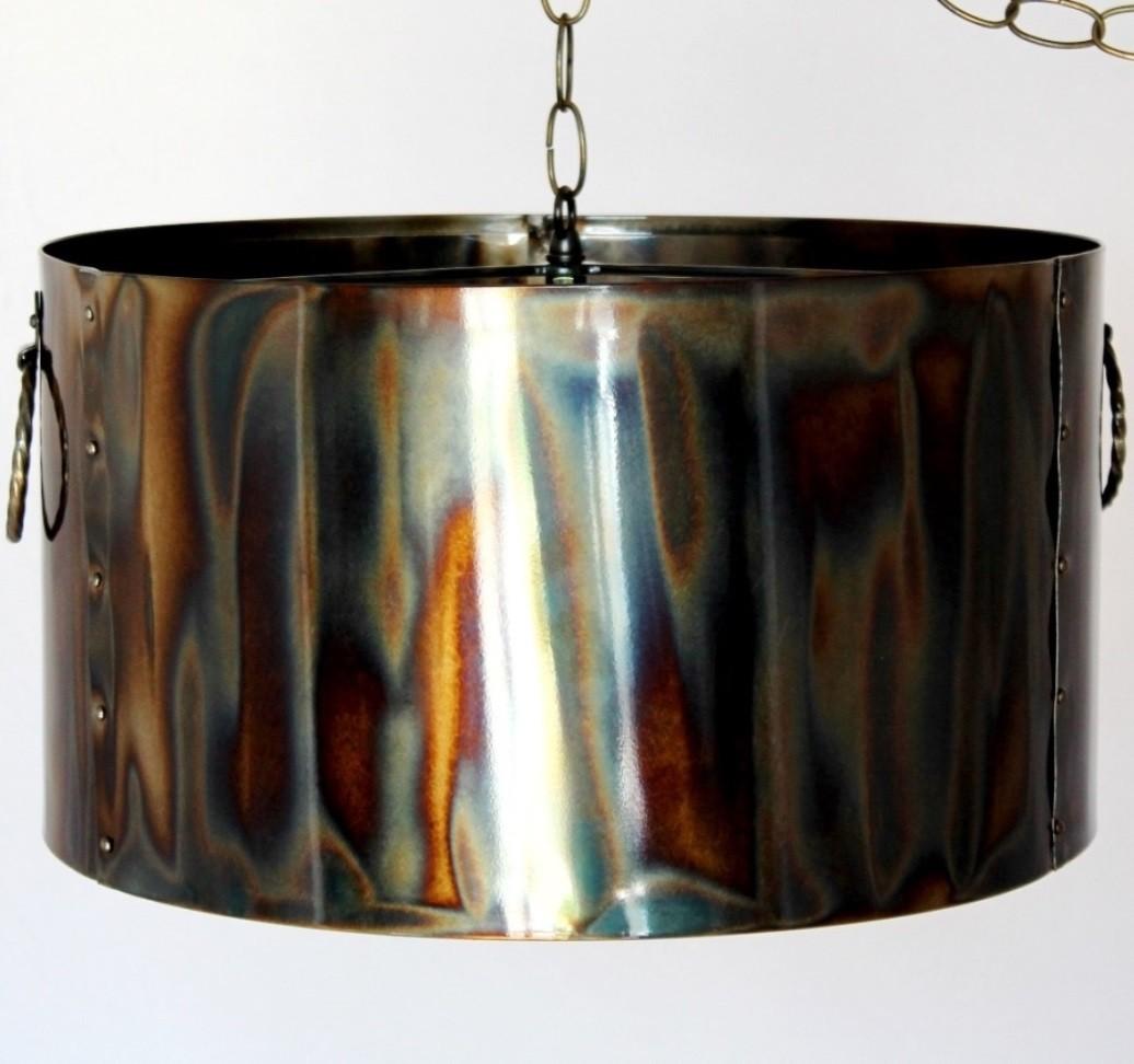 Rustic Torched Metal Drum Pendant Light