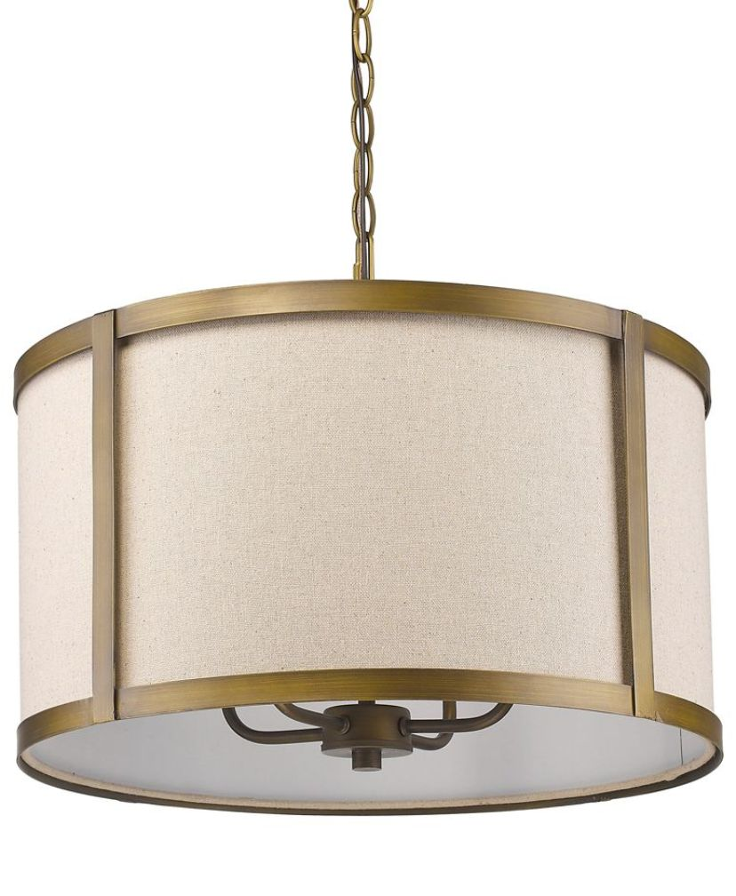 "Jessica Raw Brass & Beige Linen Drum Swag Lamp 19""Wx13""H"