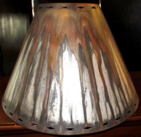 Matte Rust Patina Southwestern Metal Lamp Shade