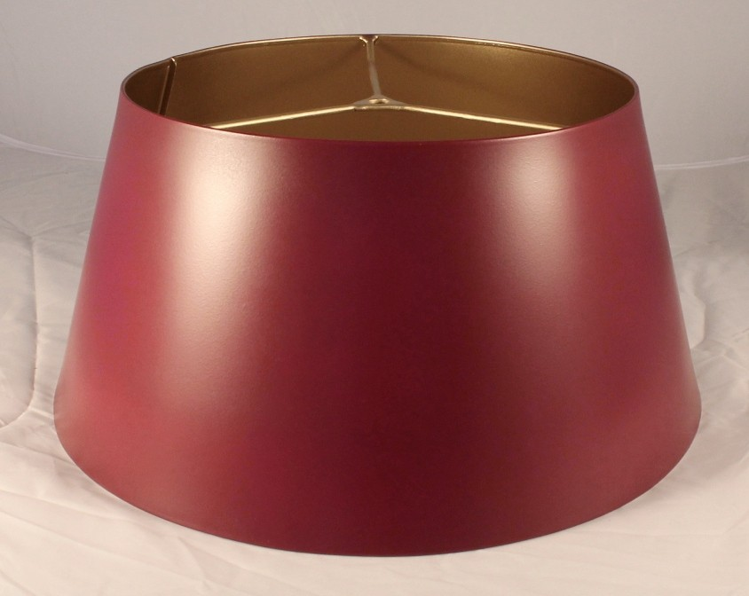 Satin Burgundy Metal Bouillotte Lamp Shade Gold Inside