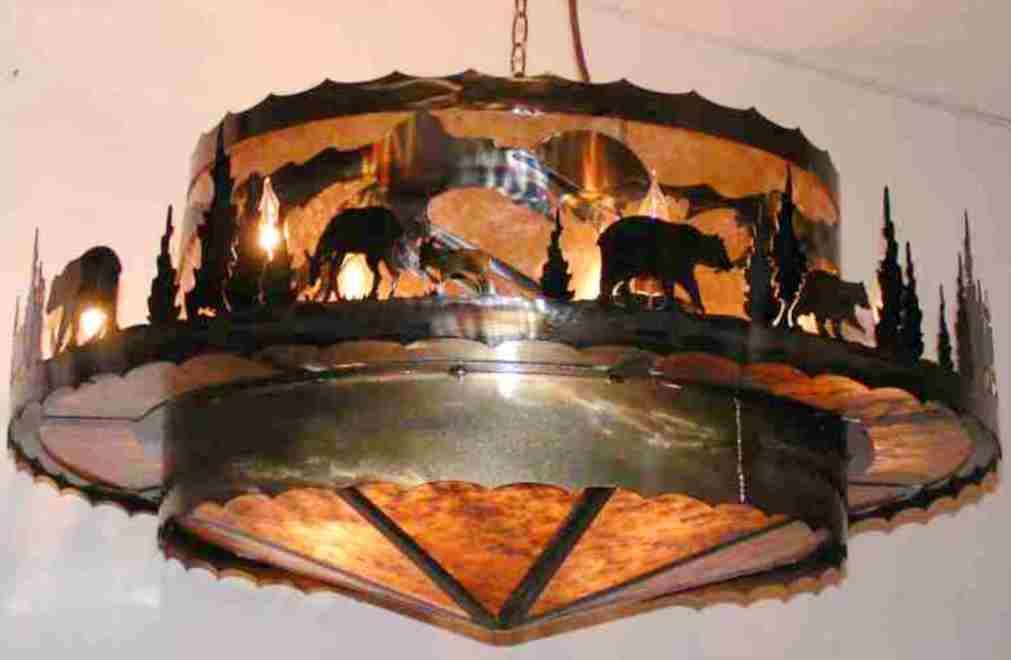 """Black Bears, Deer, Mountains Mica Metal Chandelier 16 Lights 36""""W"""