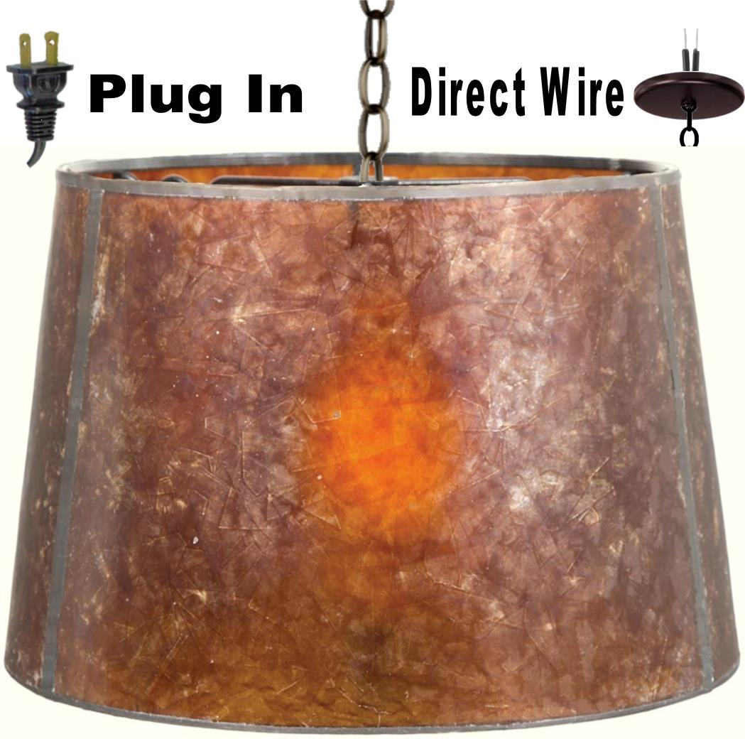 "Mica Drum Plug In Pendant Light 12-18""W"