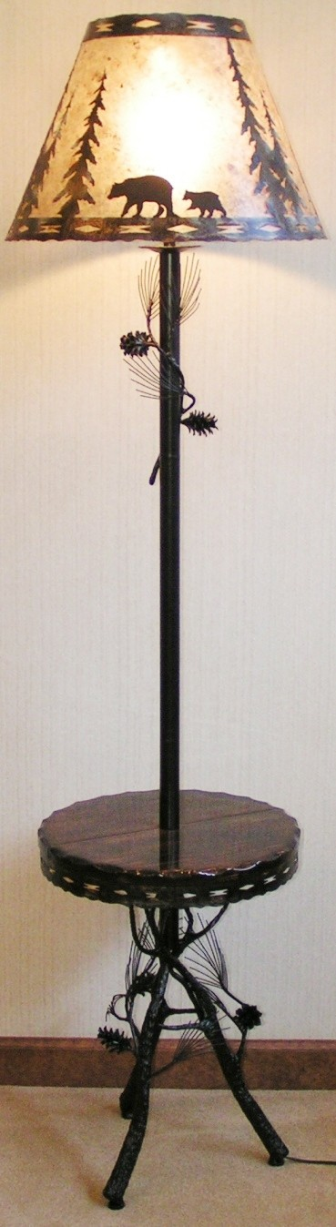 Bronze Pine Tree Limb Needles Floor Lamp