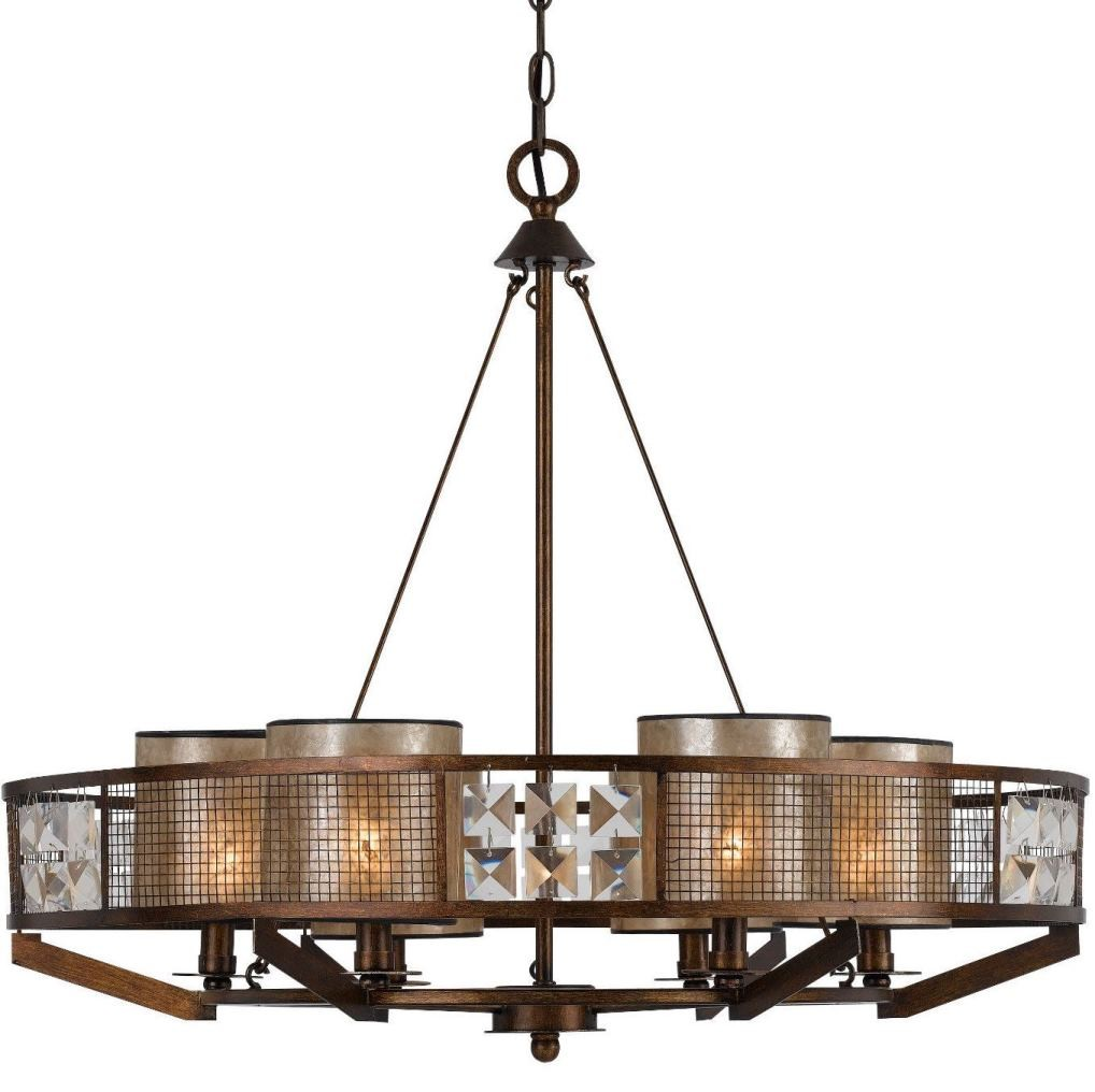 Forged Iron Amp Wood Chandelier Mica Shades Fx 3557 6