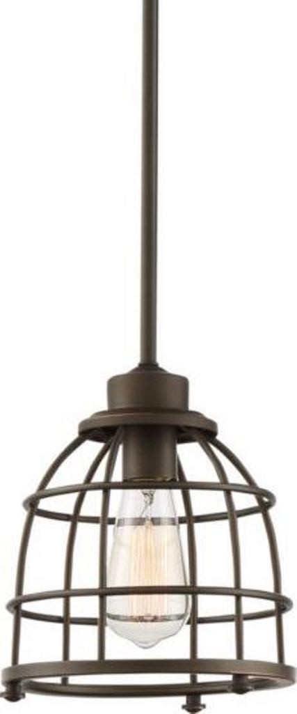 Maxx mahogany bronze mini pendant light metal wire cage shade 8wx47h greentooth Image collections