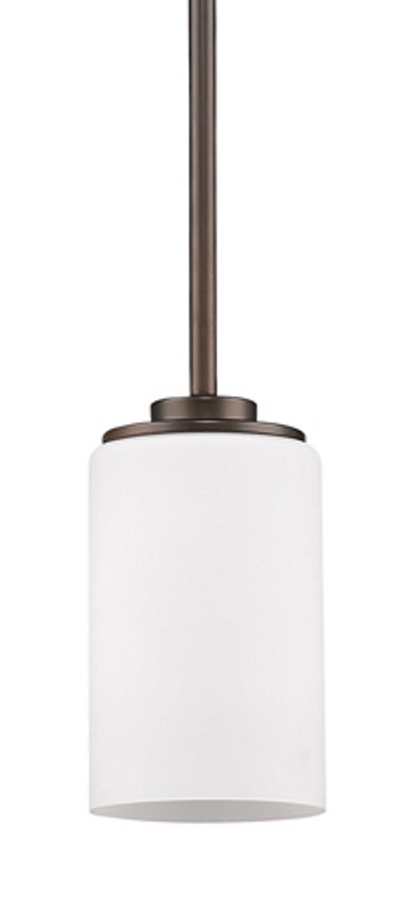 "Addison Oil Rubbed Bronze White Drum Glass Mini Pendant Light 5""Wx6""H"