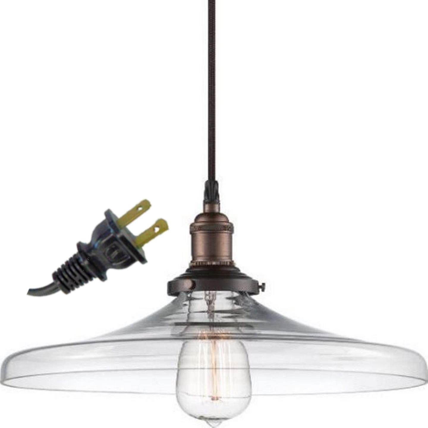 "Mission Bell Glass Plug In Pendant Light 14""Wx7""H"