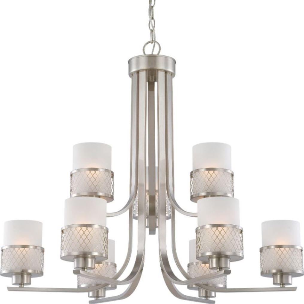 """14 In Single Shade White And Silver Hanging Lamp Global: Fusion Brushed Nickel Drum Shade Chandelier 31""""Wx27""""H"""