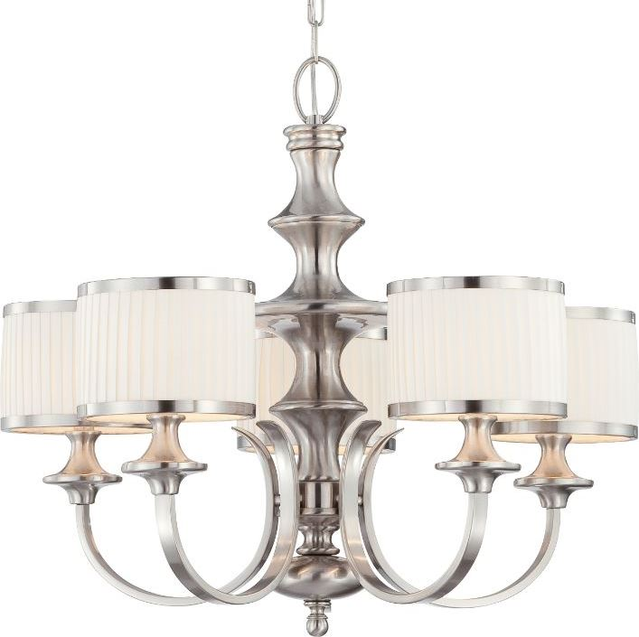 modern chandelier pleated drum shades adorn a contemporary brushed