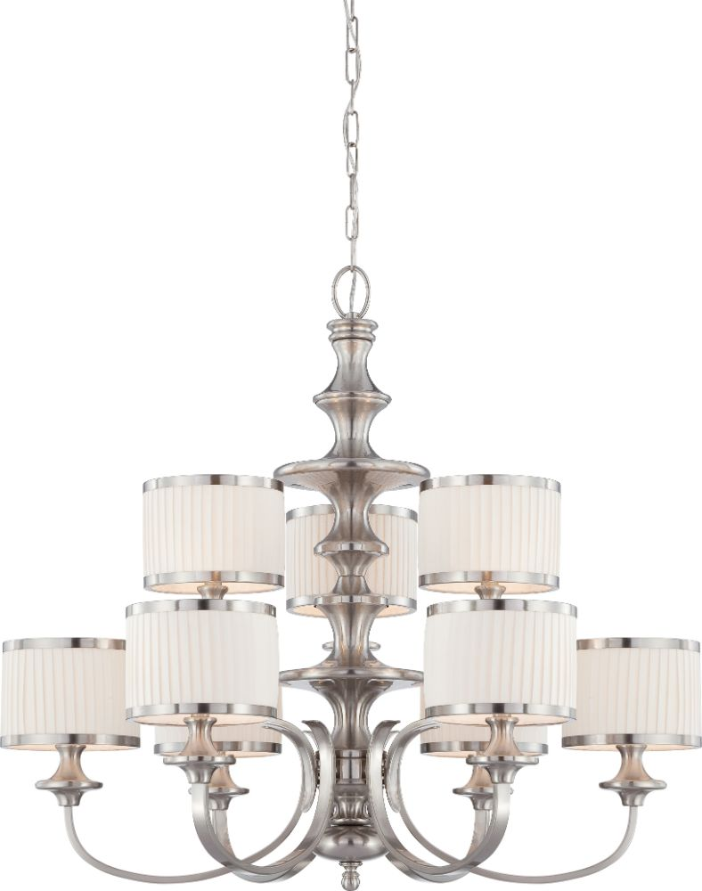 modern 2 tier chandelier pleated drum shades adorn a contemporary
