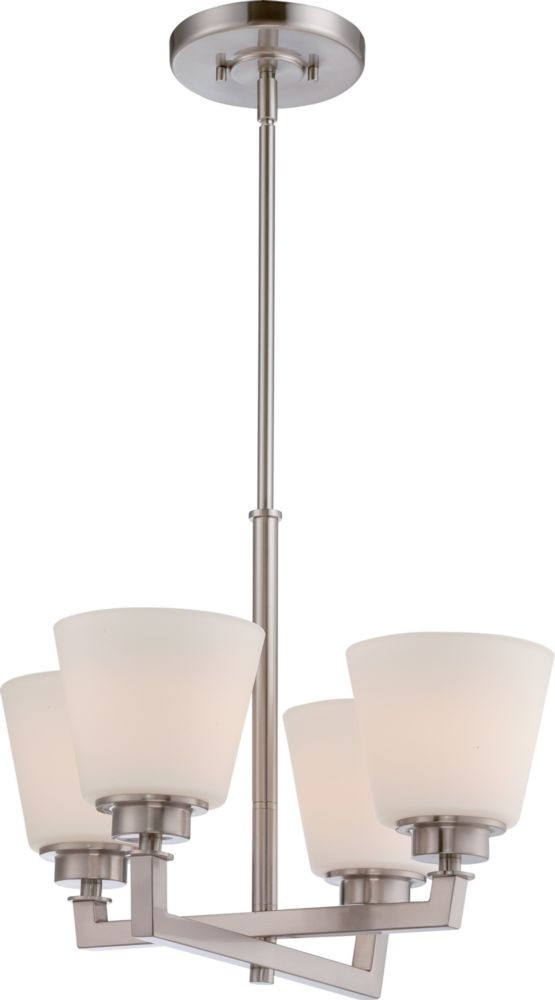 """18 Modern Glass House Exterior Designs: Mobili Brushed Nickel Chandelier White Glass 18""""Wx52""""H"""