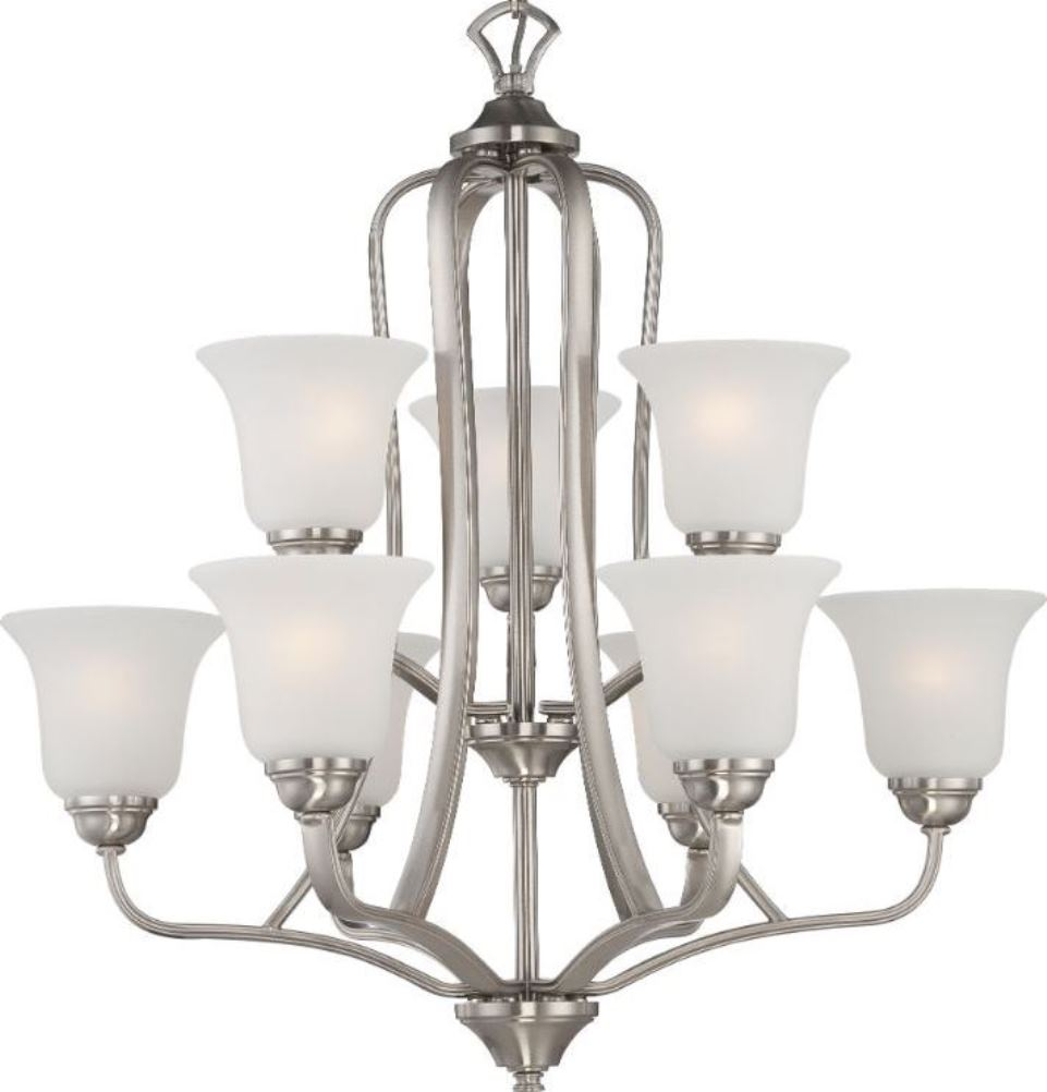 Elizabeth brushed nickel frosted glass chandelier 27wx28h elizabeth brushed nickel chandelier frosted glass shades 27wx28h aloadofball Image collections