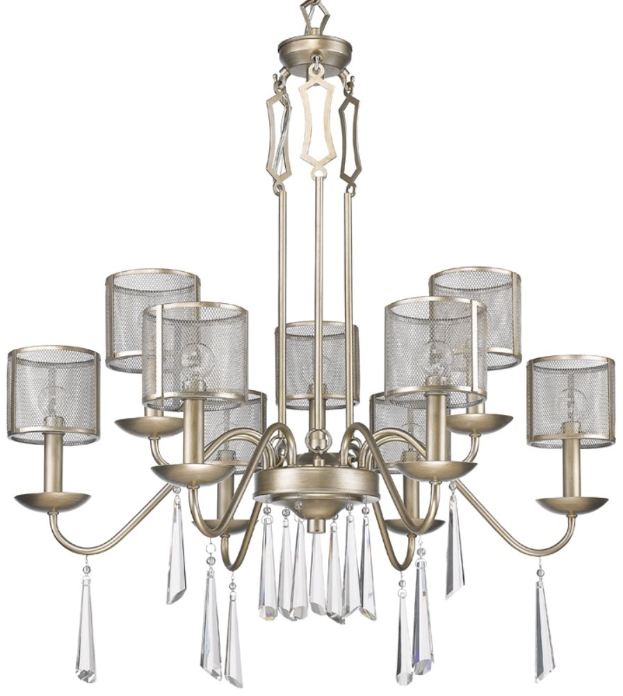 "Large Washed Gold Chandelier 29""Wx34""H - Sale !"