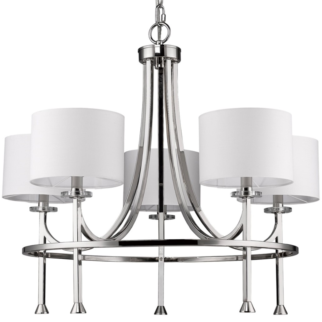 modern chandelier featuring fabric drum shades with crystal bobeches
