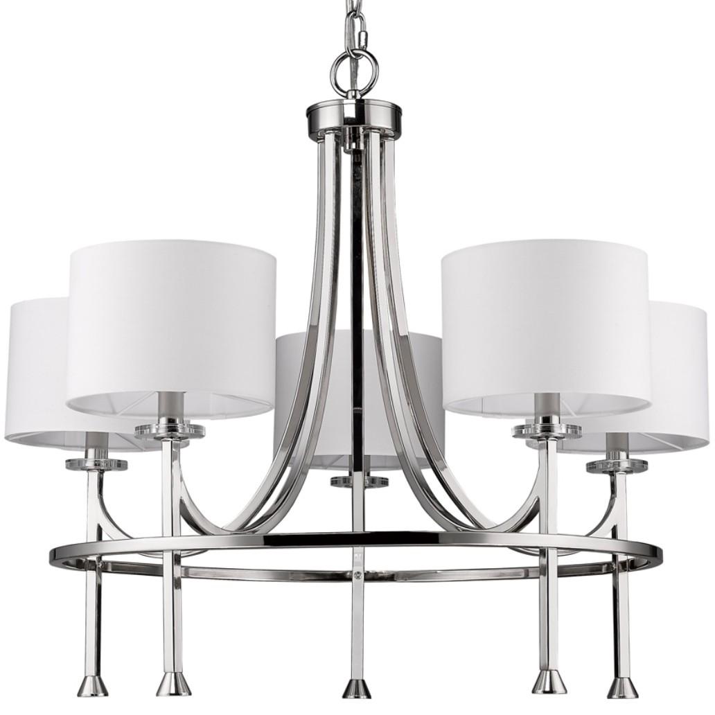Kara polished nickel drum shade chandelier 28wx24h in11040pn kara polished nickel chandelier drum shades 28wx24h aloadofball Choice Image