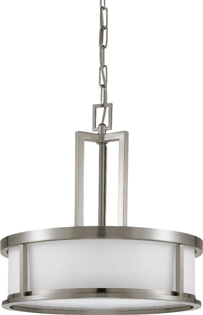 Odeon Brushed Nickel Drum Pendant Light 17 Wx17 H