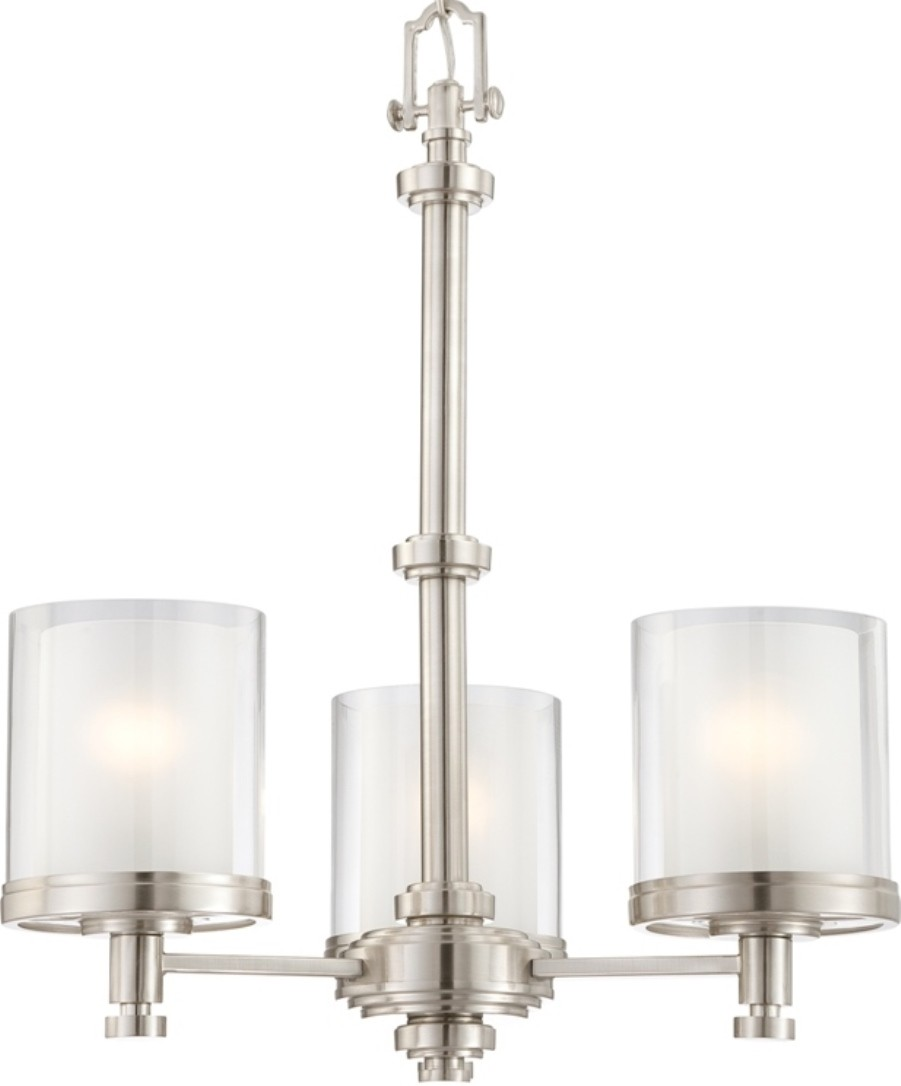 "Polished Nickel Chandelier Clear Frosted Shades 20""W"
